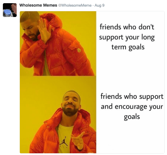 Text - Wholesome Memes @WholesomeMeme Aug 9 MANI TO LOV AND BUrOn friends who don't support your long term goals friends who support and encourage your goals