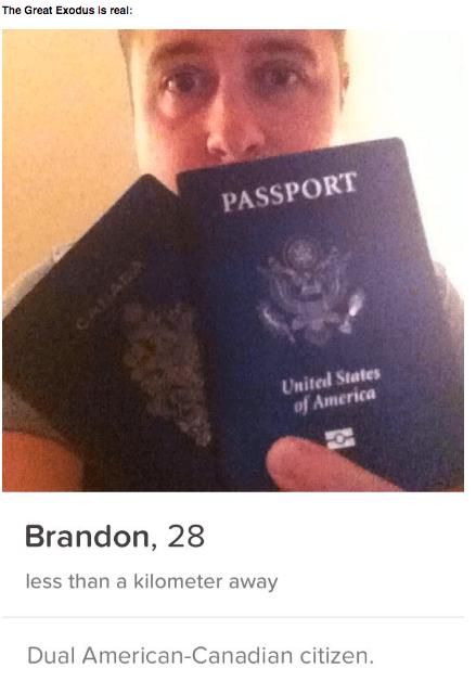 Trump meme about using your Canadian passport to flirt