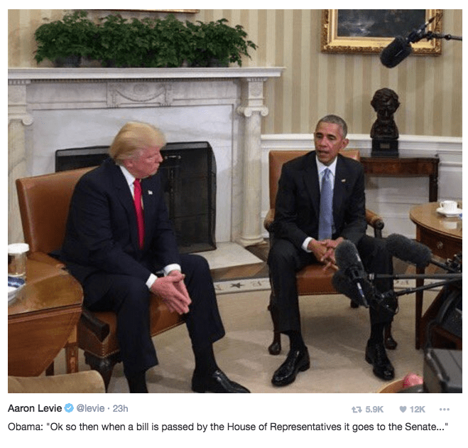 Trump meme of trump and obama awkwardly conversing in the white house