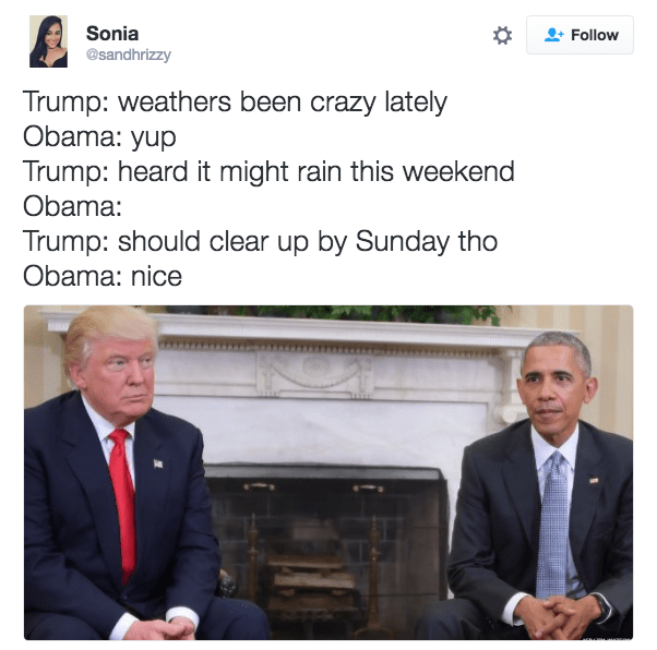 Trump Meme making fun of the awkwardness between trump and obama meeting in the whitehouse