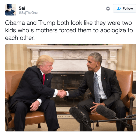tweet joking that obama and trump look like 2 kids whos mom's made them apologize