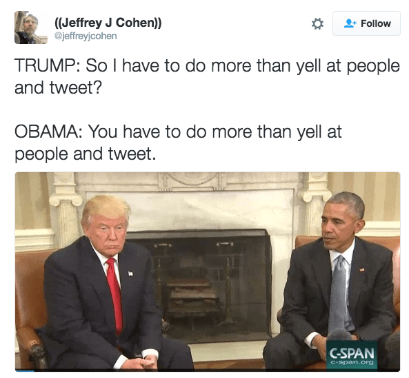Meme of Obama and Trump discussing how being president is more than yelling out tweets