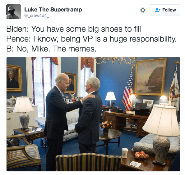 Trump Meme of Biden and Pence meeting and joking that Pence has big shoes to fill regarding the memes