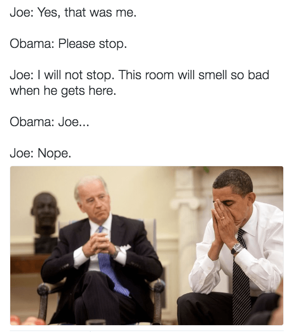 Biden Obama meme that has degenerated into fart jokes.