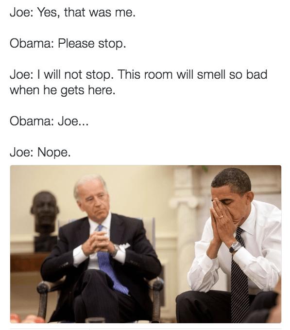 Biden Obama meme that has degenerated into fart jokes.