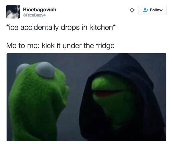 Green - Ricebagovich @RiceBag94 Follow ice accidentally drops in kitchen* Me to me: kick it under the fridge