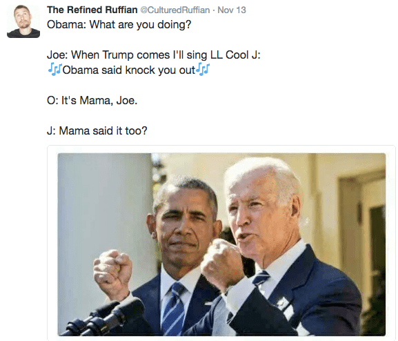 Funny picture of Biden talking with Obama behind him that has been captioned into a silly meme.