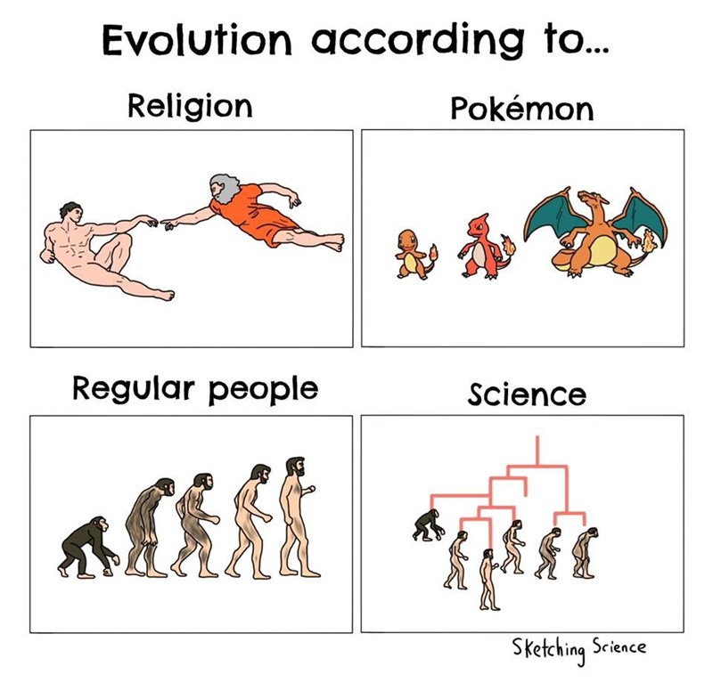 Text - Evolution according to... Religion Pokémon Regular people Science Sketching Science