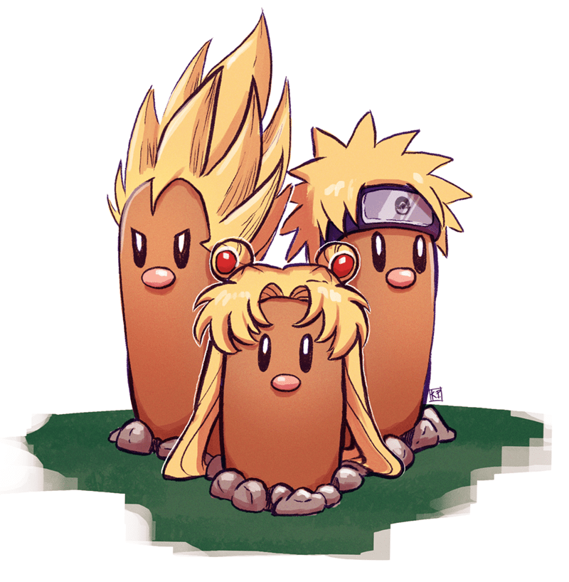 naruto dugtrio Pokémon sailor moon - 8990685184