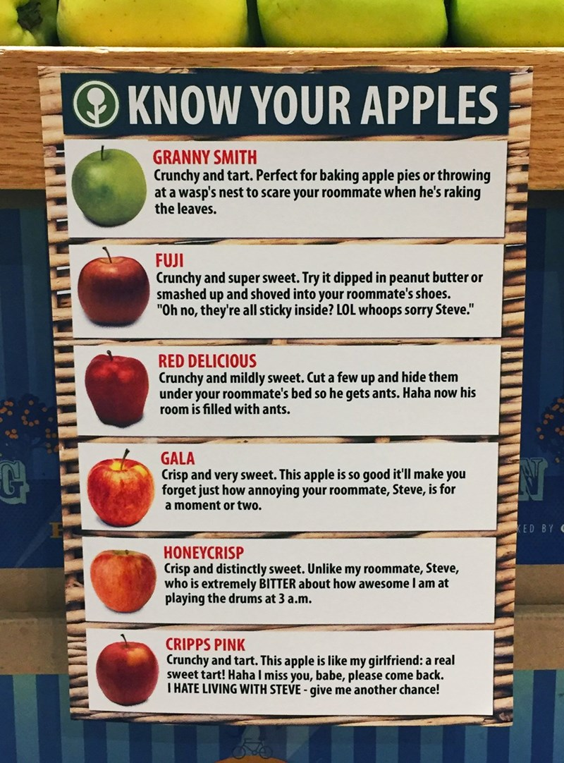 pranks,apples,grocery store