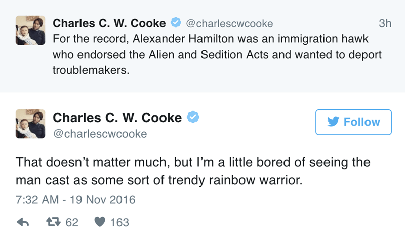 Text - Charles C. W. Cooke @charlescwcooke 3h For the record, Alexander Hamilton was an immigration hawk who endorsed the Alien and Sedition Acts and wanted to deport troublemakers. Charles C. W. Cooke Follow @charlescwcooke That doesn't matter much, but l'm a little bored of seeing the man cast as some sort of trendy rainbow warrior. 7:32 AM -19 Nov 2016 62 163