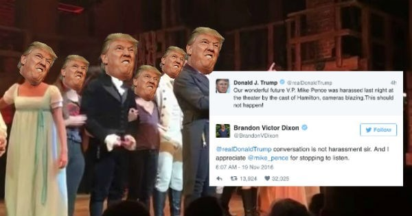 Product - Donald J. Trump oarea Denaic Trump Our wonderful future V.P. Mike Pence was harassec last right a the theater by the cast of Hamilton, cameras blazing Tris should not happent Brandon Victor Dixon Follow BrandonVDixon realDonaldTrump conversation is not harassment sir. And appreciate @mke pence for stopping to isten 6.07 AM-19 Nov 2016 t 13,824 32.025