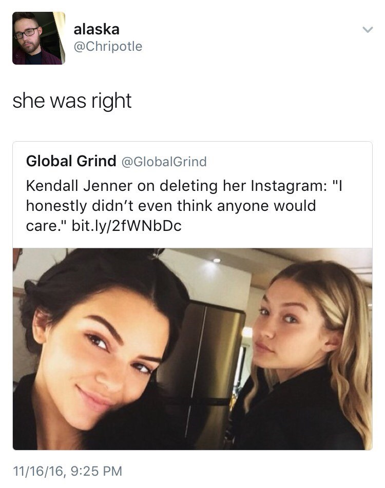 Brutal burn meme about how Kendall Jenner deleted her Social Media and thought no one cares and someone points out that really no body cares.