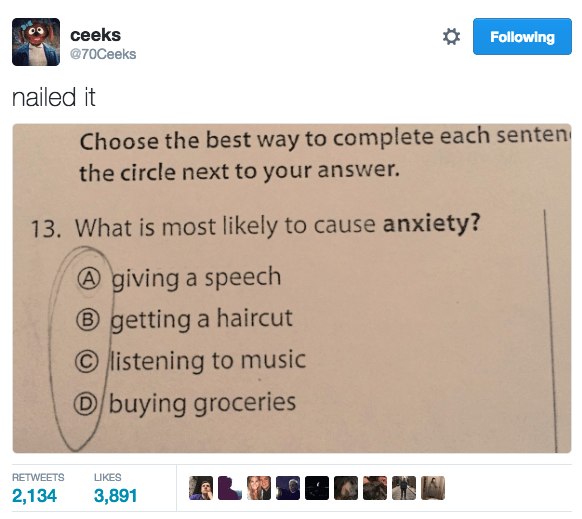 multiple choice anxiety image - 8991491840