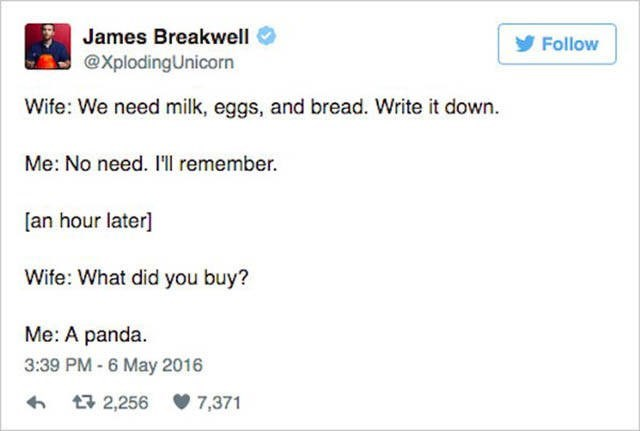 Text - James Breakwell Follow @XplodingUnicorn Wife: We need milk, eggs, and bread. Write it down. Me: No need. I'l remember. [an hour later] Wife: What did you buy? Me: A panda. 3:39 PM - 6 May 2016 t2,256 7,371