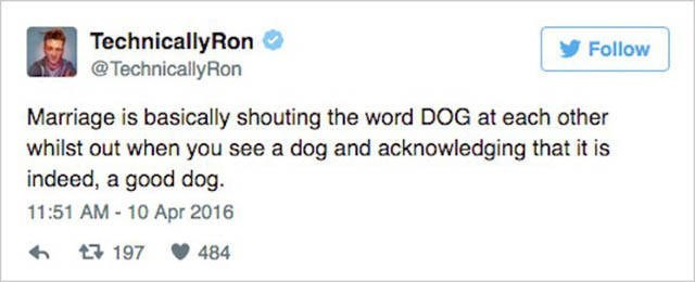 Text - TechnicallyRon @TechnicallyRon Follow Marriage is basically shouting the word DOG at each other whilst out when you see a dog and acknowledging that it is indeed, a good dog 11:51 AM 10 Apr 2016 t197 484
