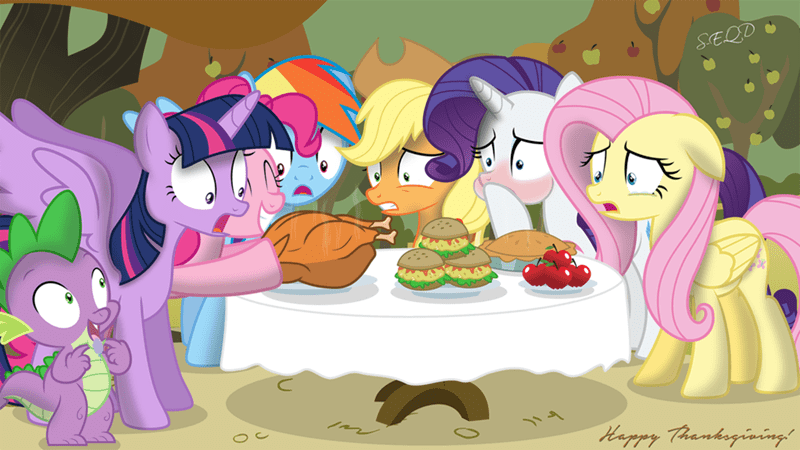 spike applejack thanksgiving twilight sparkle carnivore pinkie pie rarity fluttershy rainbow dash - 8991807488