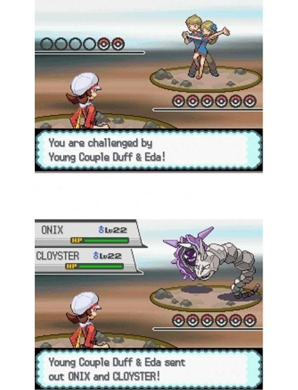 Cartoon - You are challenged by Young Couple Duff & Eda! ONIX Lu22 HP CLOYSTER HP Lu22 Young Couple Duff & Eda sent out ONIX and CLOYSTER!