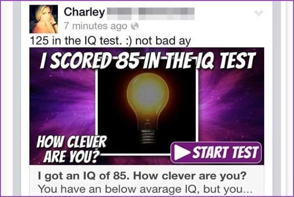 Text - Charley 7 minutes ago 125 in the IQ test. :) not bad ay I SCORED 85-IN THEIQ TEST HOW CLEVER ARE YOU? START TEST I got an IQ of 85. How clever are you? You have an below avarage IQ, but you...