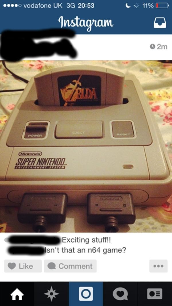 Gadget - o vodafone UK 3G 20:53 11% Instagram 2m BLDA RSET POWER Nintendo SUPER NINTENDO ENTERTAINNENT SYSTEM Exciting stuff!! sn't that an n64 game? Like Comment