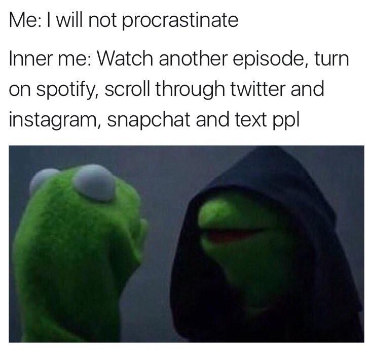 procrastination,evil kermit,image
