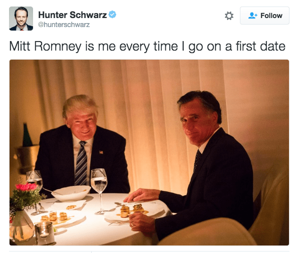 Trump meme about going on a first date with Romney
