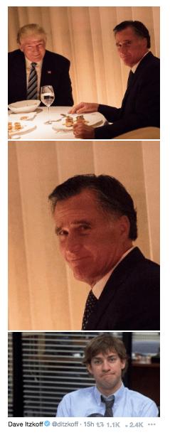 Trump meme with Romney making Jim Halpert's signature face