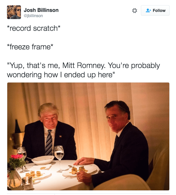 Trump meme about Romney starring in a teen movie