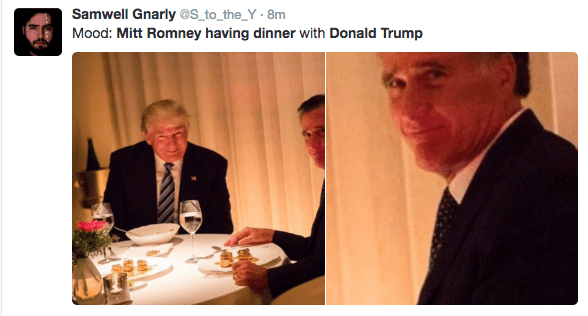 Trump meme about Romney's mood during their dinner