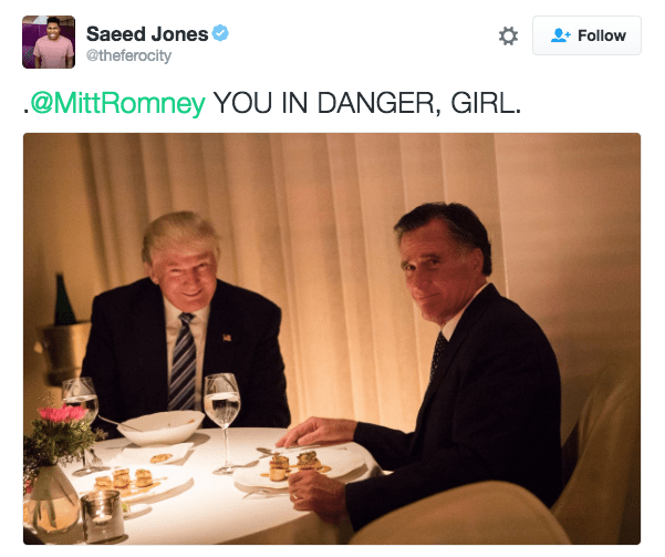 Trump meme warning Romney of danger