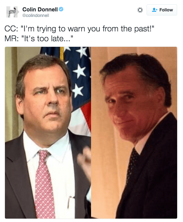 Trump meme about Chris Christie trying to warn Romney