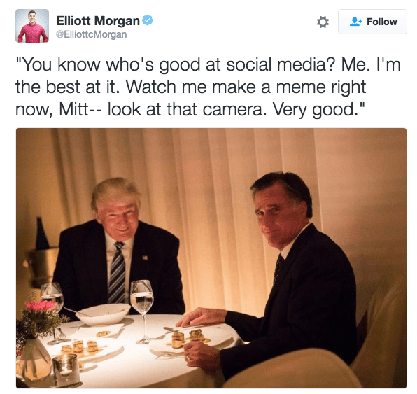 Trump meme about making the dinner with Romney into a meme