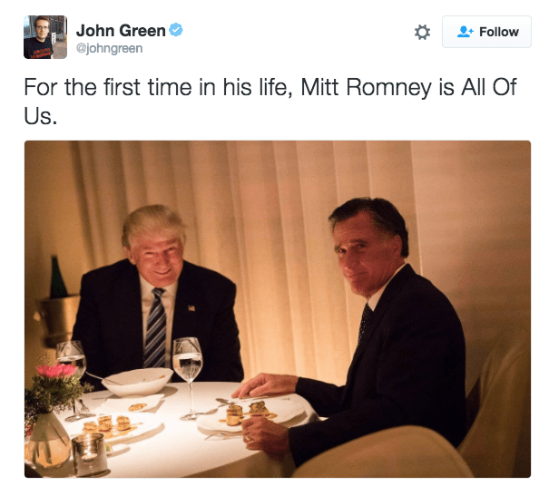 Trump meme about Romney being relatable for a change