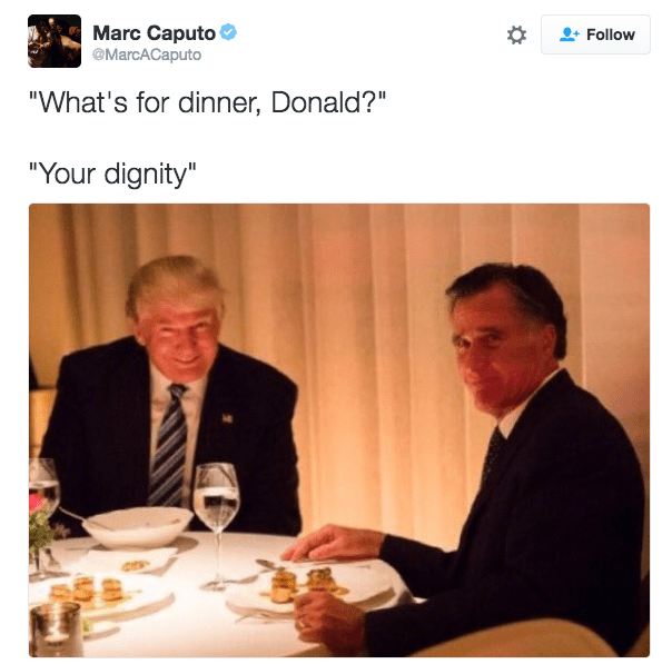 Trump meme about Romney losing his dignity