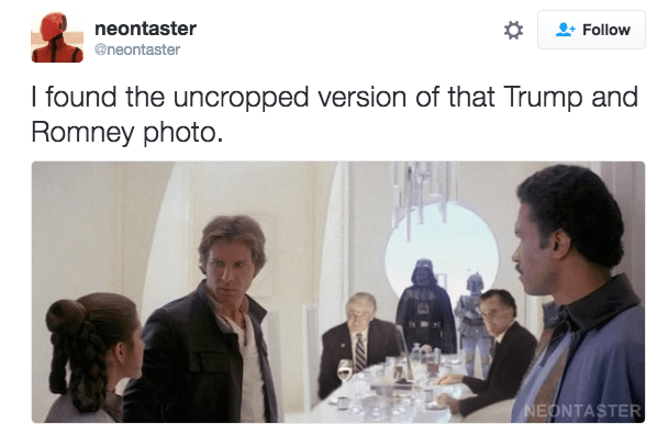 Trump meme about having dinner with Darth Vader and Romney