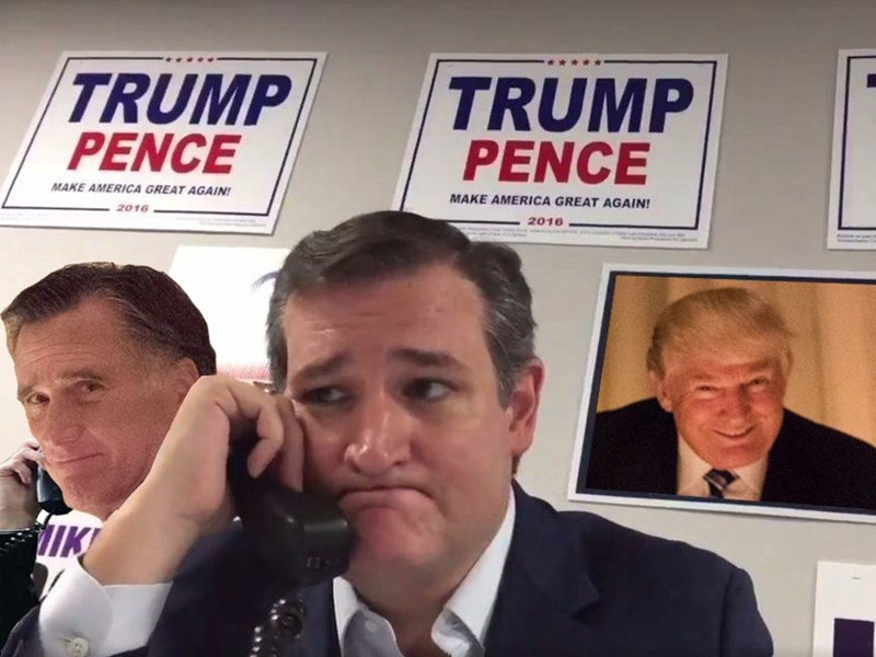 Trump meme with Ted Cruz and Mitt Romney making pained faces