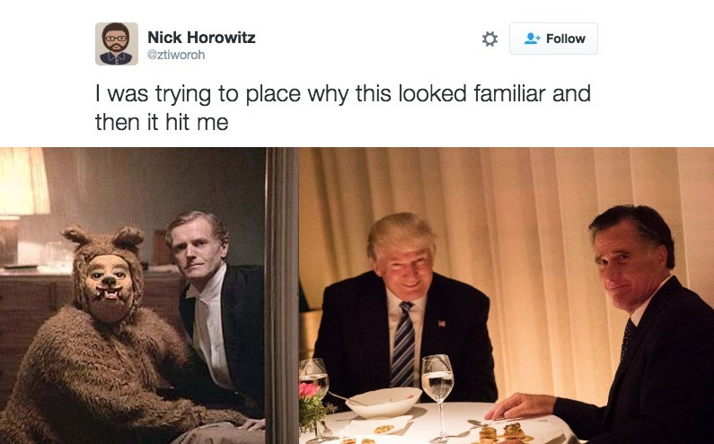 Trump meme comparing his dinner with Romney to the bear scene from The Shining