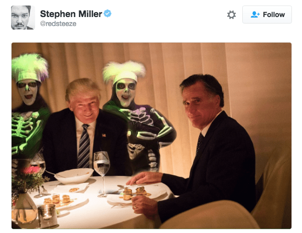 Trump meme with him flanked by two men in skeleton suits and makeup