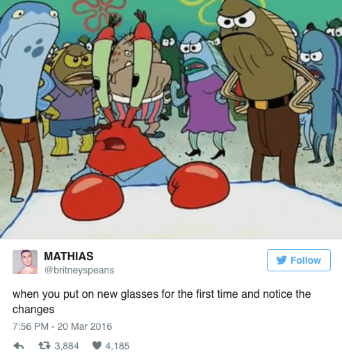 spongebob memes of blurred Mr. Krabs and when you wear glasses for the first time
