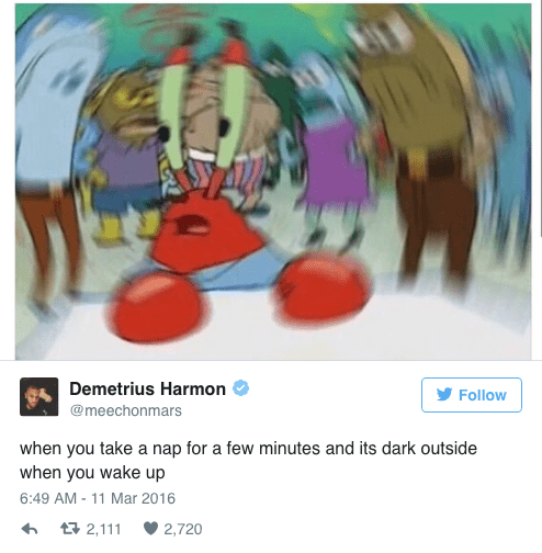 spongebob memes of blurred Mr. Krabs and when you nap for too long