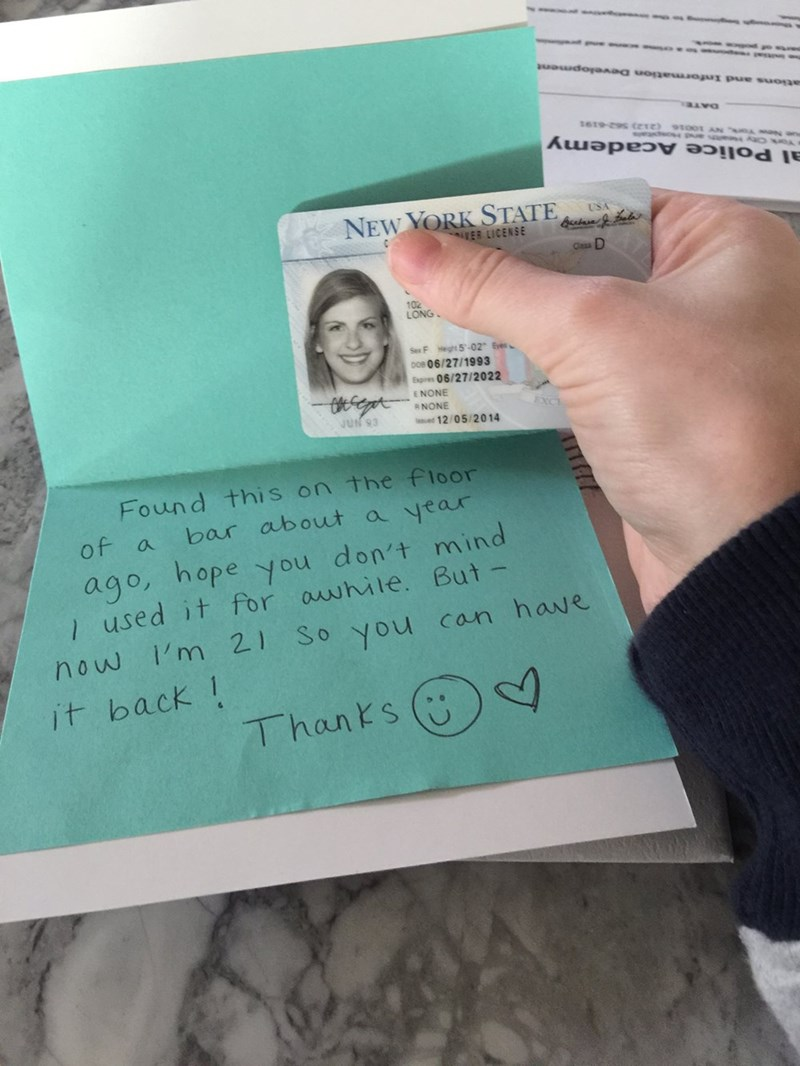 win image girl returns lost id after finder uses it for a year as fake id