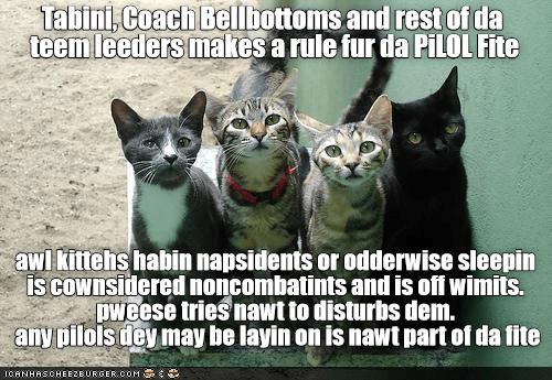 Tabini, Coach Bellbottoms and rest of da  teem leeders makes a rule fur da PiLOL Fite