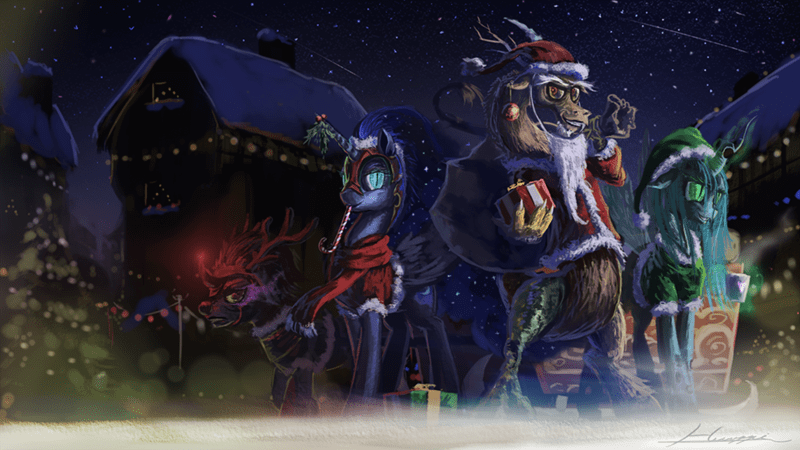 king sombra,christmas,nightmare moon,hearths-warming-eve,discord,chrysalis