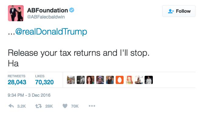 Text - ABFoundation Follow @ABFalecbaldwin ..@realDonaldTrump Release your tax returns and I'll stop На RETWEETS LIKES 28,043 70,320 9:34 PM-3 Dec 2016 6 3.2К 128K 70K