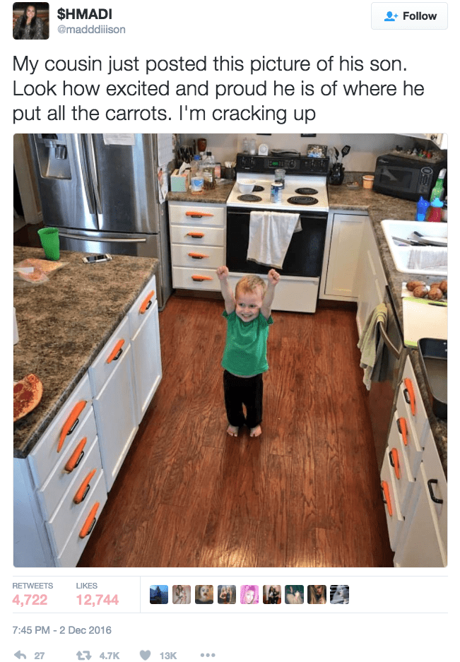 funny parenting image kid puts carrots all over kitchen