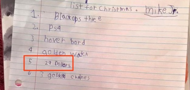 Text - mike r st for Christmas 1Black ops the e 2c Ps4 3hoveh bord 4 aoldeh wateh 29 Dolars 3 golde Chnes