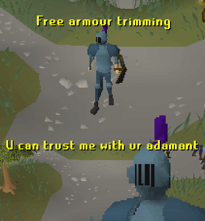Text - Free armour trimming can trust me with ur adamant