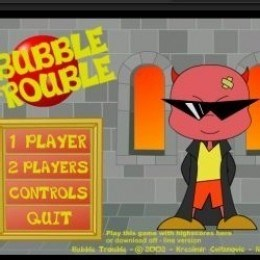 Cartoon - BUBBLE ROUBLE 1 PLAYER 2 PLAYERS CONTROLS QUIT ay this game w gh niand off ubTrou-@s00-Kres version Canovid