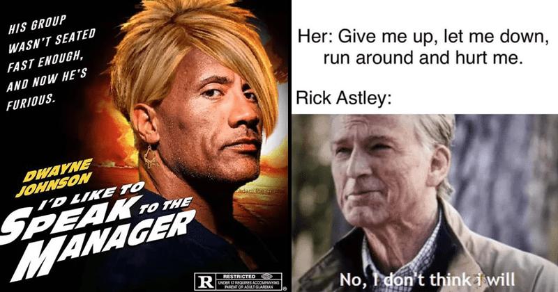 Funny memes, random memes, Dwayne johnson as a Karen meme, Meme about Rick Astley featuring Captain america.