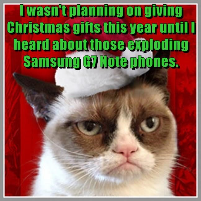 I wasn't planning on giving Christmas gifts this year until I heard about those exploding Samsung G7 Note phones.